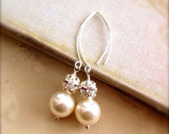 Stock Clearance Pearl Drop Earrings Cream Sterling Silver Faux Pearl Earrings Elegant Fashion Jewelry