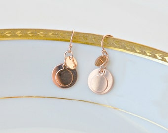 Rose gold coin earrings, pink gold, three, triple, small round disks, dainty delicate, bridesmaid wedding bridal, everyday jewelry - Caprice