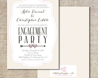 Pink and Gold with Hearts and Arrows Engagement Party Invitation