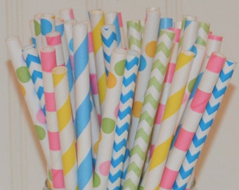 Peppa Pig Party Paper Straws, Striped & Chevron Paper Straws, Pink Paper Straws, Green Paper Straws, Blue Paper Straws, Yellow Paper Straws