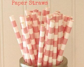 Paper Straws, 25 Peach Ring Striped Paper Straws, Peach Paper Straws, Paper Drinking Straws, Vintage Wedding Straws, Shabby Chic Drink Straw