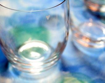 Minimal Tiny Heart Bohemia Crystal Tumblers, Set of Four Glasses, Hand Engraved
