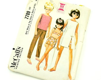 Vintage 1960s Girls Size 6 Mod Dress or Top, Pants or Shorts and Bra McCalls Sewing Pattern 7789 / chest 24 waist 22 / Complete