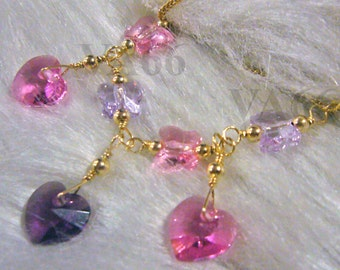 14K Gold Swarovski Crystal Necklace Butterfly n Heart Wire Wrapped Color Choices 925 Silver Bridal jewelry, bridesmaids, Bride, MOB, Prom