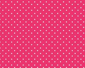 Le Elephant Fabric by Clothworks Polka Dots White Dot on Pink Raspberry