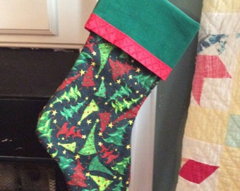 Fun Christmas Tree Print Stocking - Personalized