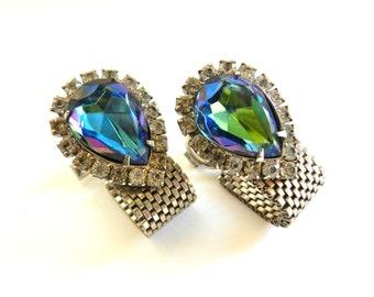 Exceptional 1950 italian  Pair of Wrap Silver Tone Cufflinks Rainbow Crystal Rhinestones  - feminine elegance--Art.541/3 --