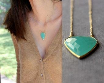 Aqua Blue Chalcedony Necklace - Bezel Set Stone - 14K Goldfilled
