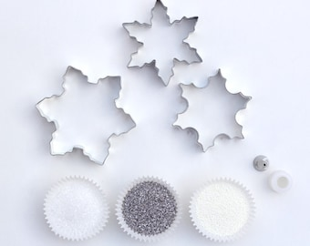 Snowflake Cookie Decorating Kit - Snowflake Cookie Cutters, Silver and White Sprinkles and Pastry Tip