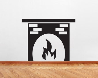 Fireplace - Family Room and Living Room Shapes Wall Decals