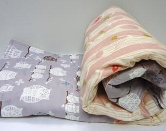 Modern Baby Girl Quilt-Woodland Organic Birch Fabric Monaluna-Pink Gray Grey-Tree Stripe-Bird and Owl Blanket
