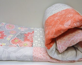 Modern Baby Girl Quilt-Coral-Gray-Sweet Harmony Patchwork Homemade Crib Bedding Baby Blanket
