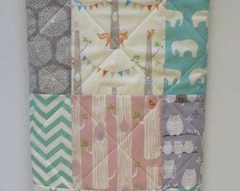 Modern Baby Girl Quilt-Organic Birch Fabric-Woodland Party-Aqua-Pink-Elephant-Chevron-Gray-Grey-Owl Baby Blanket-Tree Stripe