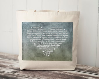 LOVE Languages Tote Bag - Canvas Bag - Carryall Tote - Enchanted Beach - Enchanted Collection