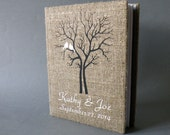 Wedding rustic photo album burlap Linen Bridal shower anniversary White Cardinals on the Tree