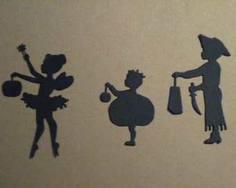 18 Halloween Trick or Treat Kid Die Cuts: Black Stamping supplies Handmade card