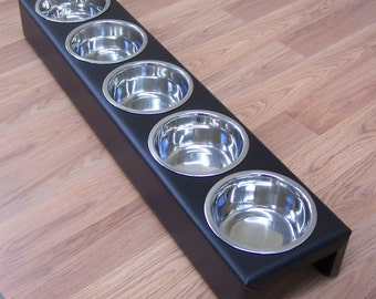 Puppy Litter Feeder Large Breed Dog 3,4 or 5 Bowls Powdercoated Steel
