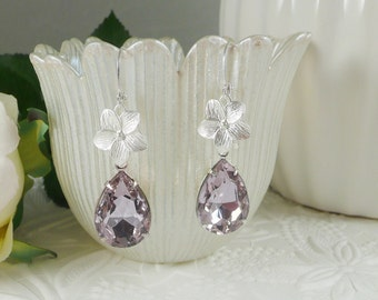 Lavender Earrings Estate Style Teardrops with Flower Drops