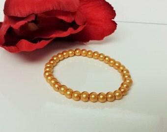 Sunset Orange 6mm Glass Pearl Bracelet for Bridesmaid, Flower Girl or Prom