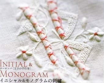 Initial & Monogram Embroidery, Hand Embroidery Designs, Yuki Pallis - Japanese Craft Book, Easy Embroidery Tutorial, Antique Style - B626