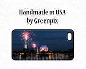 Disney iPhone 6 case, Epcot Christmas cover, i Phone 4 5, Galaxy S5 S6, fireworks, Spaceship Earth, Disneyworld, greenpix photo, cellphone