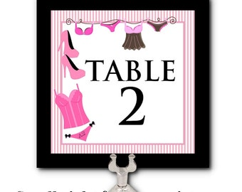 Table Number Cards, Food Label Cards, Buffet Cards, Bachelorette Party, Bridal Shower, Lingerie Party