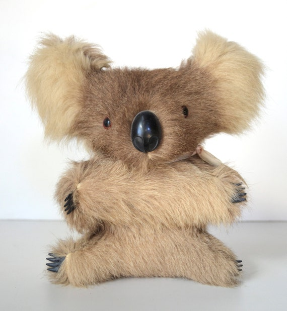 Vintage Real Fur Koala Bear Plush Animal 8 Inches by ...