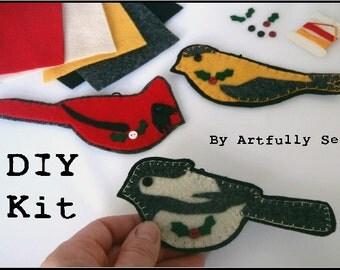 DIY Kit and Class Felt Wild Bird Chickadee Goldfinch Cardinal Ornaments 1201