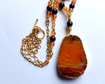 Bohemian statement necklace, orange agate slab with garnet & carnelian statement necklace, unique, one of a kind,