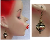 Burnished Gold Faceted Beaded Drop/Dangle Earrings Handmade Jewelry Hook Accessories, Fashion