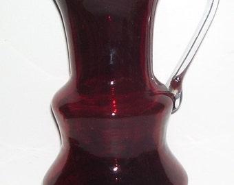 Ruby Red Modern Hand Blown Glass Pitcher, Clear Glass Handle, 32 Oz's Serving Pitcher, Studio, Wedding Gift, Modern Art Studio