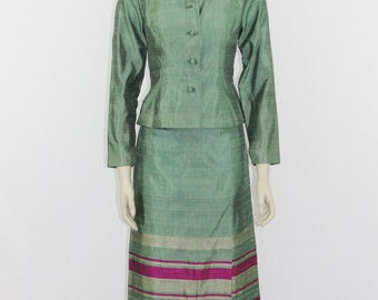 1960s Vintage Suit -  Jacket and Long Skirt - Green Thai Raw Silk