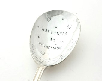 Hand stamped Spoon ~ Happiness is Homemade ~ Vintage Spoon from Goozeberry Hill