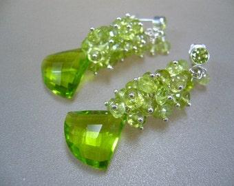 Green Peridot Sterling Silver Wire Wrapped Cluster Earrings