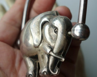 Vintage Sterling Silver Elephant Baby Rattle Possibly Topazio