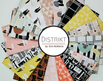 Distrikt Fat Quarter Bundle by Erin McMorris (18 FQs) - Free Spirit Fabric (Modern, geometric)