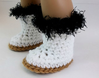 18 inch Doll Clothes  Crochet White & Black Boots Fits American Girl Doll