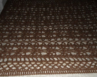 Crocheted Afghan - Blanket - Throw - Bedspread X Large    ''BOUDOIR''   in Khaki