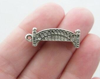 4 Bridge charms antique silver tone WT114