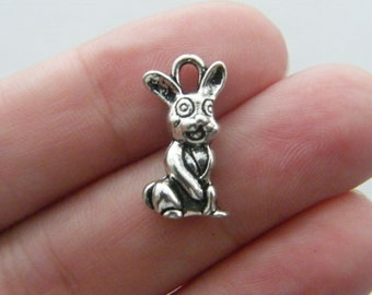 6 Rabbit charms antique silver tone A242