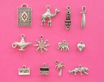 The Aladdin Collection - 12 different antique silver tone charms