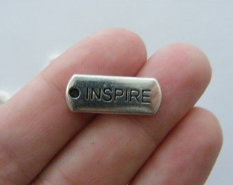 BULK 30 Inspire charms antique silver tone M49
