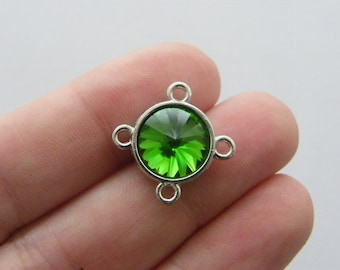 2 Green rhinestone connector charms antique silver tone I62