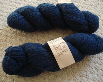 Dark Maritime Blue New England Wool Vintage Yarn from Green Mountain Spinnery, Two 4 oz skeins REDUCED