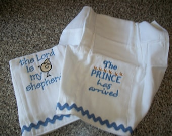 Embroidered Baby Diaper Burp Cloth Set of 2