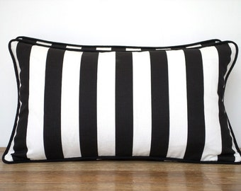 Black and white lumbar pillow cover 21x11, small chair pillow with piping, black cushion dorm room, stripe bench cushion white and black