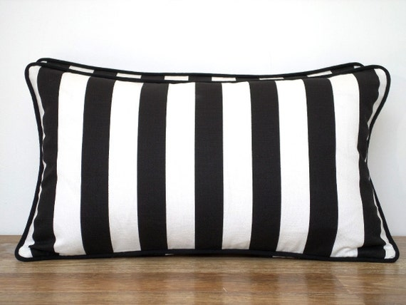 black and white lumbar pillow cover 21x11 small chair pillow. Black Bedroom Furniture Sets. Home Design Ideas