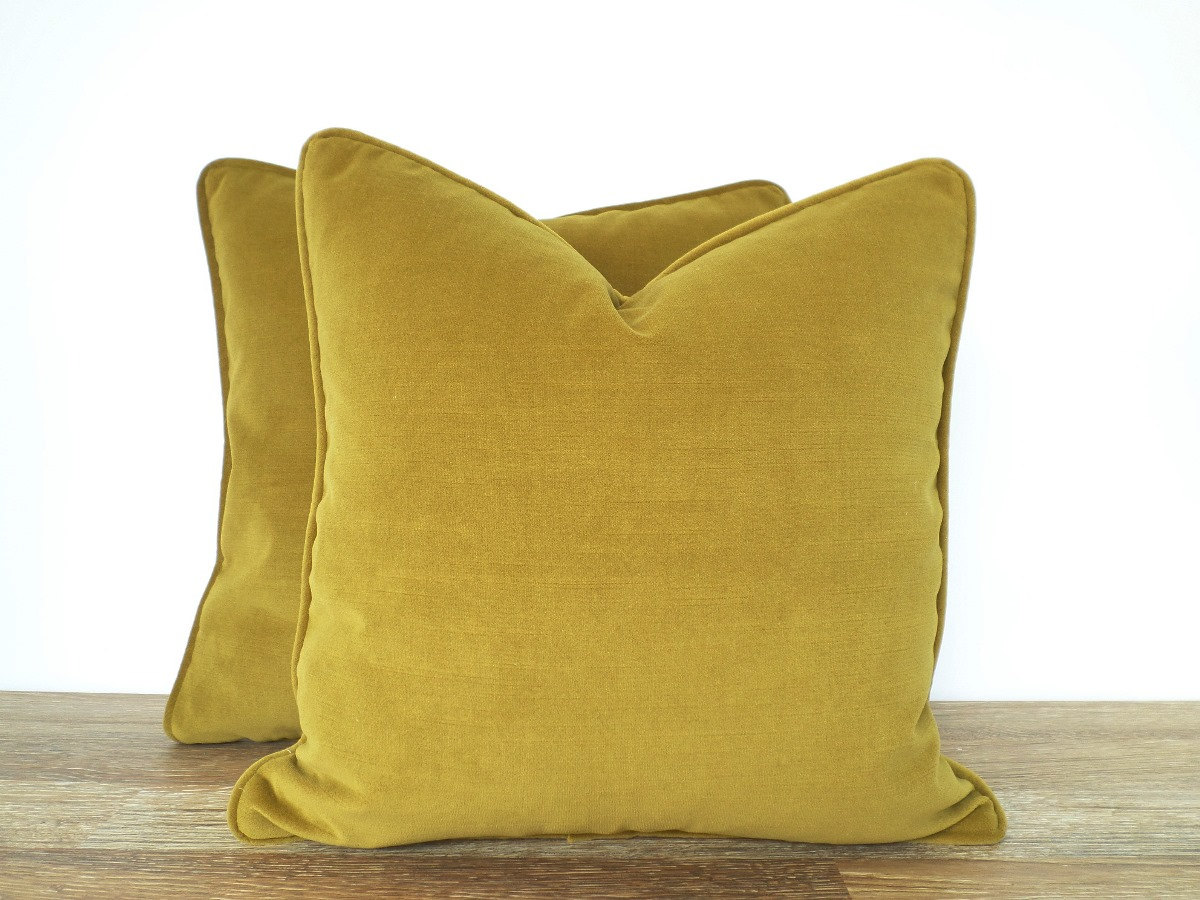 Moss green pillow cover 18x18 green sofa pillow piping green