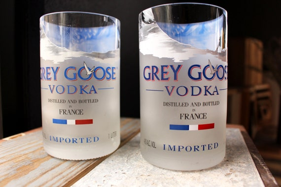 Grey Goose Bottle Cocktail Drinking Tumbler Glasses - Upcycled - Glass Cup Set of 2 - Grey Goose Gift Idea -