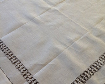 HEMSTITCHED TABLECLOTH Detailed White 30u201d Sq